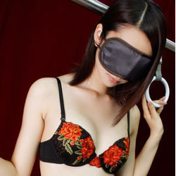 上野・ホテヘル「いたずら痴漢電車in上野」 吊り革につかまったアイマスク美女を舐め放題!その後はベッドでヘルスプレイ!